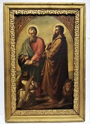 Antique 1900's Framed Oil On Canvas Painting Apostles St. Mathew And Mark Angel