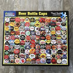 """White Mountain Beer Bottle Caps 1000 Piece Puzzle 24x30"""" Usa 1556 Complete"""