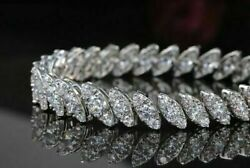 18carat White Gold And Diamond Leaf / Marquise Style Bracelet 3.21cts 7 Inches