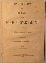 Constitution And By-laws Of The Fire Department Of Gold Hill Nevada 1st Edition