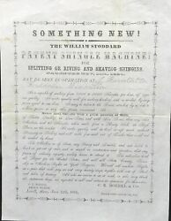 Something New The William Stoddard Patent Shingle Machine For Splitting Or 1856