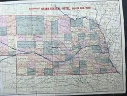 Map Of Nebraska Compliments Of The Grand Central Broken Bow Nebr Cover Title