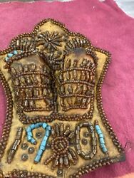 Very Fine 1901 Native American Indian Beaded Leather Tobacco Pouch Medicine Bag.