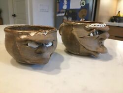 Vintage Pottery Ugly Face Mug Cup Signed Set Of Two