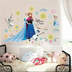 Lovely Olaf Elsa Anna Princess Wall Stickers for Girls Kids Room Home Decoration