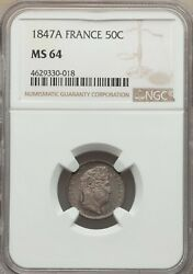 France Louis Philippe 1847-a 50 Centimes Coin Uncirculated Certified Ngc Ms-64