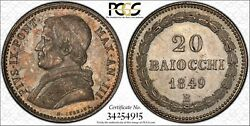 Italy Papal States Pius Ix 1849-b 20 Baiocchi Silver Coin Pcgs Certified Ms63