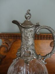 Rare Vintage Etain Pewter 95 Peltro Cut Glass Decanter Made In Italy, Beautiful
