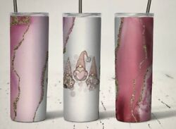 Pink Gnomes W Hearts Faux Marble Gold Glitter 20 Oz Tumbler Personalize Custom