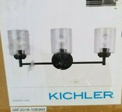 Kichler Winslow 3 Light Vanity Light Olde Bronze Finish And Seeded Glass Cylinders