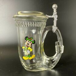 Vintage Disney Mickey Mouse Tyrolean Horn Glass Stein Hinged Pewter Lid Zinn