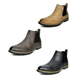 Menand039s Casual Chelsea Ankle Boots Relaxed Fit Shoes Black Brown Size 6.5-10-15