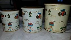 Set Of 3 Vintage Tin Stacking Canisters By Action Of Brazil Cars, Blimps, Planes