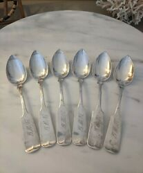 Coin Silver Root And Chaffeepittsfieldmalot Of 6 Grapefruit Spoon1839-1849