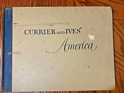 Rare 1952 Currier And Ives' America Full Album 12x16 - 80 Colored Prints
