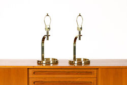 Mid Century Vintage Art Deco Brass Curved Table Lamps — 80's Modern — Pair