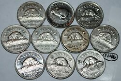 Canada 1960 1961 1962 1963 1964 1965 1966 1967 1968 1969 10 X 5 Cents Lot N46