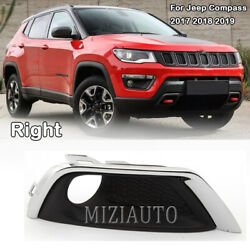 Right Side Front Bumper Fog Light Cover Frame Trim For 2017-2019 Jeep Compass Rh