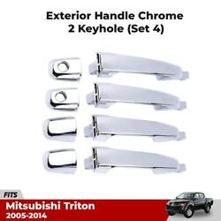 Outer Exterior Door Handles Chrome For Mitsubishi Triton L200 Truck Pickup 07-14