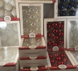 Huge Lot 14 Boxes Glass Christmas Bulbs - Holiday Ornaments 1.7 Red White Blue