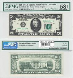 1981-a 20 Cleveland District Frn Double Print Error Note Pmg Choice Au-58 Epq