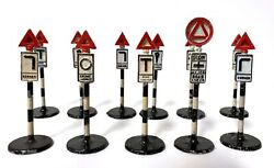 Vintage Dinky Toys Meccano Metal Traffic Signs Road Street Signs Lot Of 11