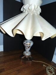 Mid Century Vintage Triplex W. Germany Table Lamp Hand Painted With Ruffle Shade