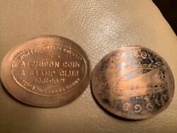 Rolled/pressed Elongated 1968 Ireland Penny Atchison Coin And Stamp Club
