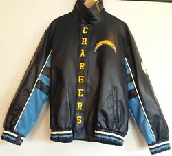 G-iii San Diego Chargers Leather Jacket, Nfl Men L/g - Large Snap And Zip Front,