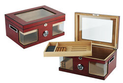 Quality 120+ Ct Count Cigar Humidor Humidifier Wooden Case Box Hygrometer For