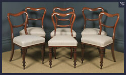Antique English Victorian Set Of Six 6 Mahogany Balloon Back Dining Chairs
