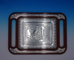 Judaica By Unknown Italian Sterling Silver Tray Shabbat With Wood 4819