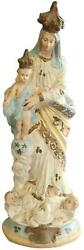 Antique Sculpture Religious Madonna Our Lady Of Victory Chalkware