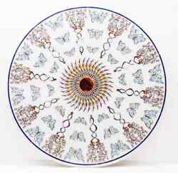 24 Antique White Marble Table Top Center Coffee Inlay Round Decor Mosaic H15
