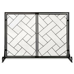 2-panel Wrought Iron Fireplace Screen W/ Magnetic Doors - 44x33in Black