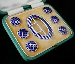 Cased Sterling Silver Enamel Belt Buckle And Button Set, Levi And Salaman 1908