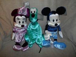 Mickey And Minnie Mouse And Pluto Velvet Plush Set The Disney Store 13 New Nwt