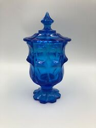 Fenton Glass Colonial Blue Valencia Footed Candy Dish Or Cigarette Box With Lid