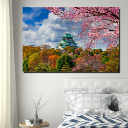 Osaka Castle In Spring Cities Monuments And Bridges Canvas Art Print For Wall De
