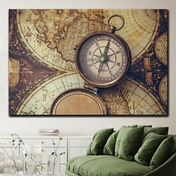 Rusty Compass On Old Map Antique And Vintage World Maps Canvas Art Print For Wal