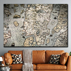 Ancient Scandinavian Map Antique And Vintage World Maps Canvas Art Print For Wal