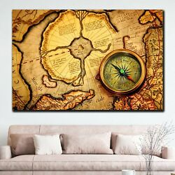 Ancient Map Of North Pole With Compass Antique And Vintage World Maps Canvas Art