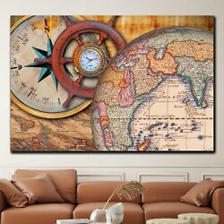 Vintage Globe With Compass And Helm Antique And Vintage World Maps Canvas Art Pr