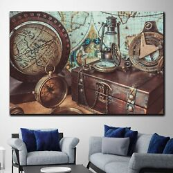 Old Globe With Nautical Objects Antique And Vintage World Maps Canvas Art Print