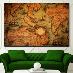 Ancient Global Map Antique And Vintage World Maps Canvas Art Print For Wall Deco