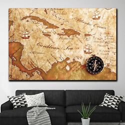 Maritime Map Antique And Vintage World Maps Canvas Art Print For Wall Decor