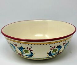 Bobby Flay Sevilla Red Trim Earthenware Large Round Serving Bowl, 12 1/8
