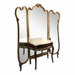 Antique Argentinian Tri-fold Mirror With Dressing Table French