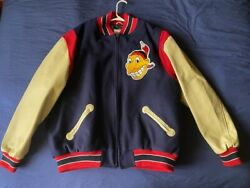 Men's Mitchell And Ness Cooperstown Mlb Cleveland Indians Varsity Jacket Size Xxl