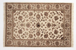 Traditional Jaipur Design Floral/garden 4and039x6and039 Oriental Rug -100 Wool Handmade